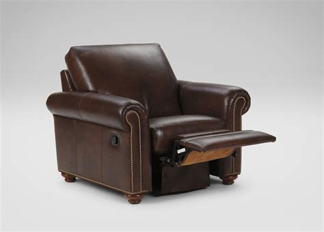 ethan allen brown leather recliner conor leather recliner omni brown custom ship