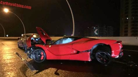 laferrari crash crash driver wrecks 3m laferrari in china