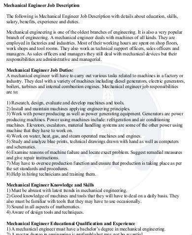mechanical design engineer job description pdf 9 sle engineer job description free sle exle