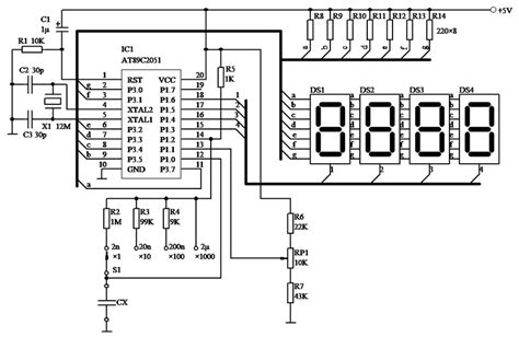 capacitance meter schematic diagram 8051 at89c2051 based digital capacitance meter free microcontroller projects 8051 avr pic