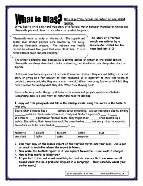 Free Printable Psychology Worksheets by Bias Worksheet Wiildcreative