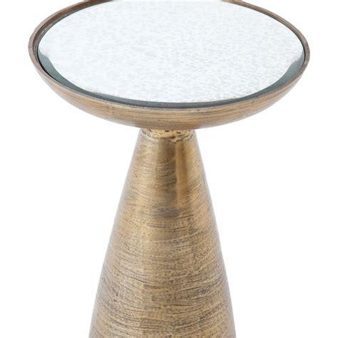 sojourn contemporary antique mirror round accent side naya modern round brass antique mirror end table kathy