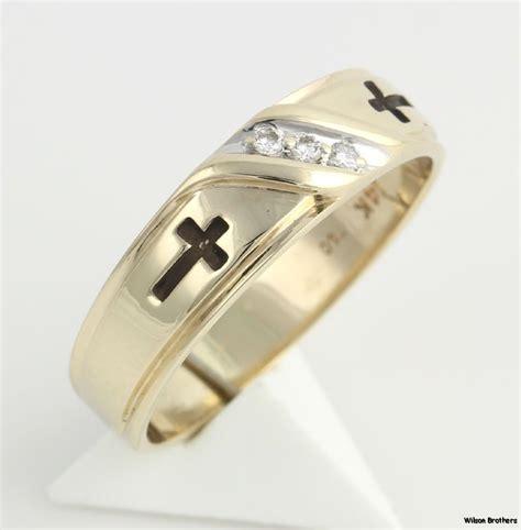 genuine diamond cross mens wedding band  yellow