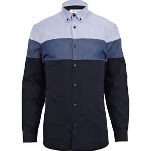 river island blue color block shirt in blue for lyst