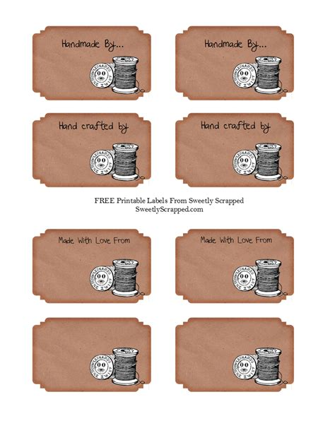Tags For Handmade Items - sweetly scrapped free handmade by labels