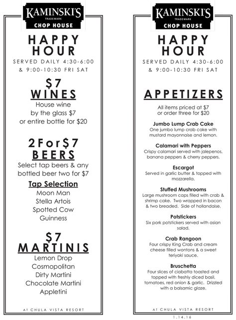 chop house happy hour happy hour kaminski s chop house