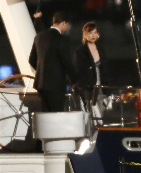 50 shades darker filming continues on luxury yacht as dakota johnson and jamie dornan on the set of fifty