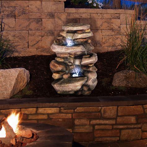 pure garden stone waterfall fountain  led lights