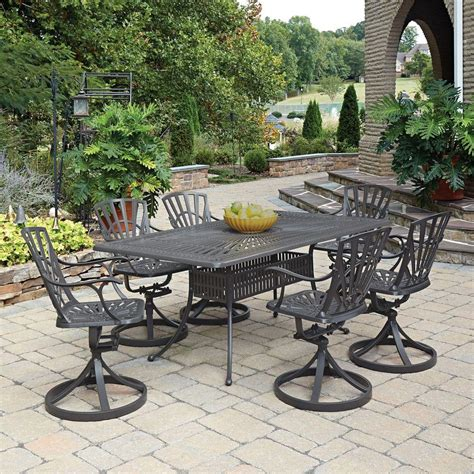 home styles largo taupe  piece  weather patio dining set    home depot