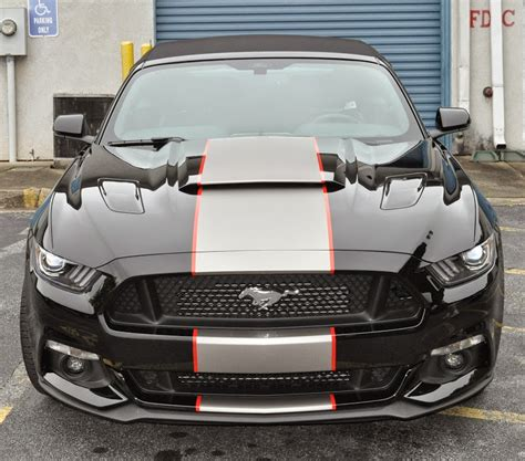 silver mustang with black stripes black mustang convertible roush stage 2 silver center