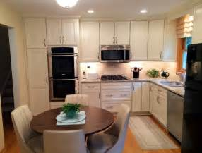 Small Transitional Shaped Eat Kitchen Design Photos small white quot l quot shaped kitchen in naperville by adam