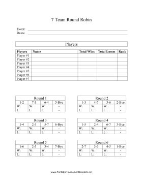 Printable 7 Team Round Robin 7 Team League Schedule Template