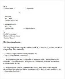 Complaint Letter Consumer Complaint Letter Exle