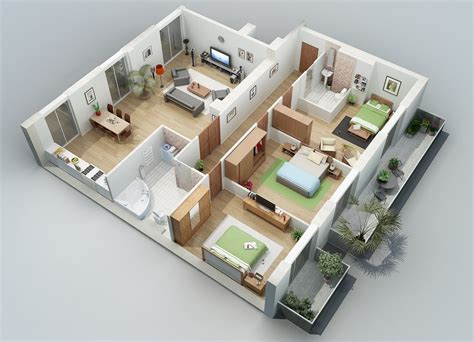 3d 3 bedroom house plans apartment designs shown with rendered 3d floor plans