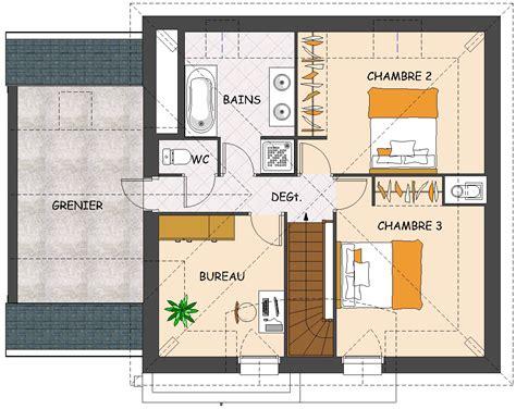 plan maison 3 chambres etage plan maison etage 4 chambres 1 bureau ventana