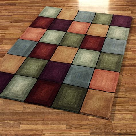 Rugs Area Colorful Circles Rug Pattern With Rectangle Shape Placed On The Light Brown Wooden Flooring