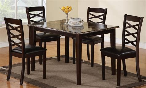 Cheap Wooden Dining Table And Chairs Casual Dining Room Decor With 5 Pieces Cheap Granite Top Dinette Table Set Glossy Espresso Wood