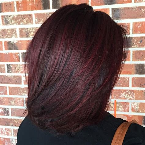 layered lob  black hair  burgundy balayage medium