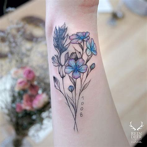 pink flower tattoo designs blue pink flowers best design ideas