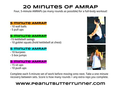 20 minutes of 5 minute amraps workout post peanut