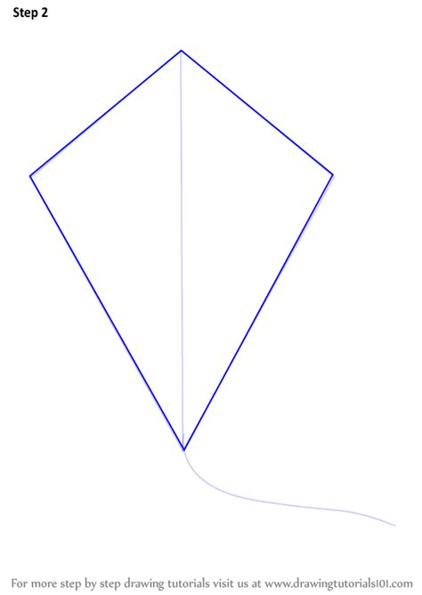 printable kite shapes learn how to draw kite for kids everyday objects step by