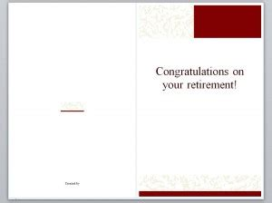 Retirement Card Template For Word by Retirement Card Template Retirement Cards 187 Template
