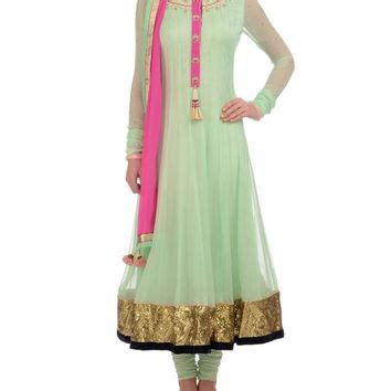 pista green color long anarkali suit panache haute couture panache haute couture on wanelo