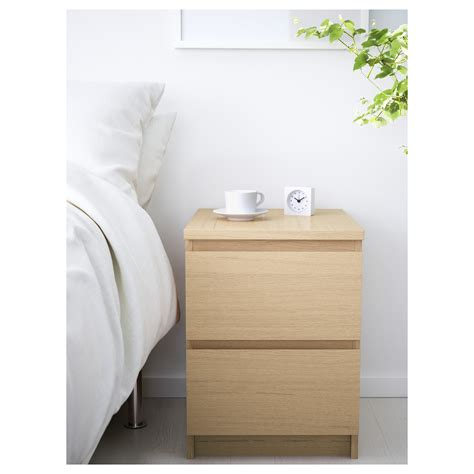 ikea malm nightstand white malm chest of 2 drawers white stained oak veneer 40x55 cm