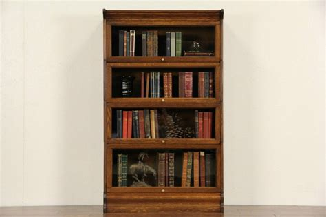 Barrister Bookcases With Glass Doors Oak 4 Stack 1900 Antique Lawyer Bookcase Glass Doors Ebay