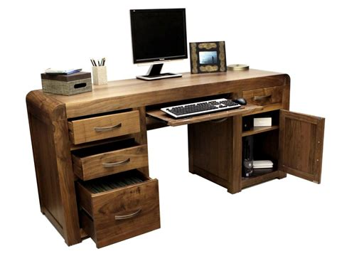Shiro Walnut Twin Pedestal Computer Desk Walnut Computer Desks