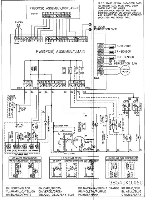 lg door refrigerator circuit diagram repair for
