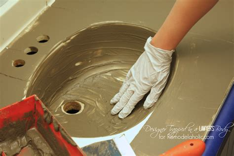 Resurfacing Bathroom Countertops Diy by Remodelaholic Diy Concrete Vanity With Integral Sink