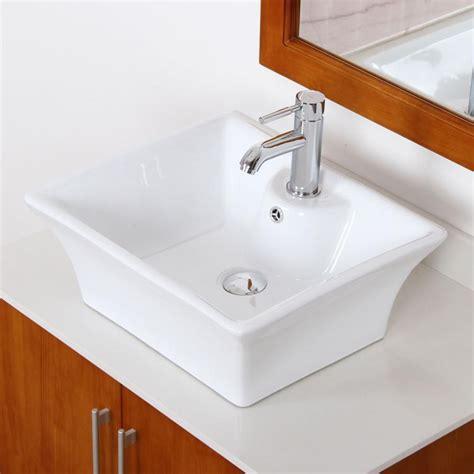 bathroom square white ceramic porcelain vessel sink