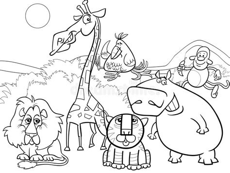 group of animals coloring page wild animals group coloring page stock vector
