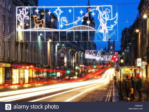 festive christmas lights in aberdeen city centre s union