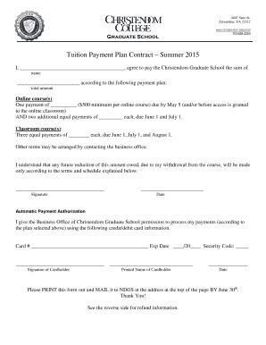 31 Printable Payment Plan Contract Forms And Templates Fillable Sles In Pdf Word To Tuition Contract Template