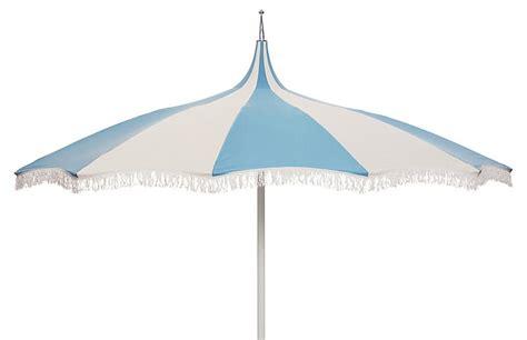Light Blue Patio Umbrella by Ari Pagoda Fringe Patio Umbrella Light Blue White Patio