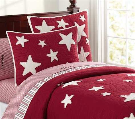 stars bedding star quilt twin red pottery barn kids
