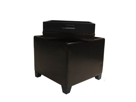 Modern Storage Ottoman Contemporary Storage Ottoman With Tray Brown Lc530otlebr Decor South