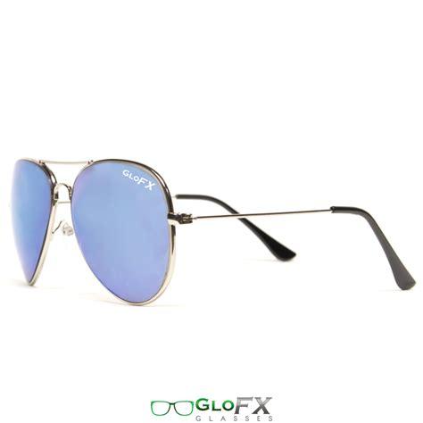 Metal Aviator Glasses glofx metal pilot aviator style diffraction glasses blue