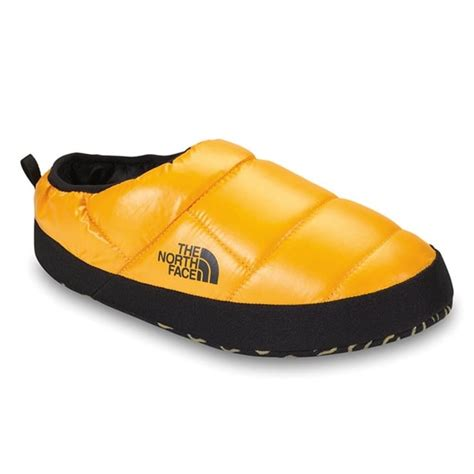 northface slippers the mens tent mule slipper shiny yellow