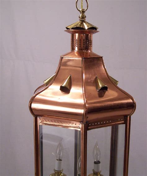 Handmade Copper Lighting - 8110 vintage handmade copper hanging light fixture for