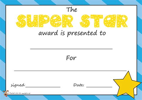teacher s pet the super star award certificate free