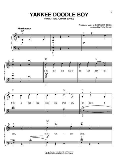 yankee doodle free piano sheet yankee doodle boy sheet for piano and more