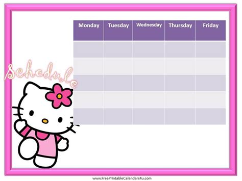 free printable hello kitty planner hello kitty weekly calendar template free weekly