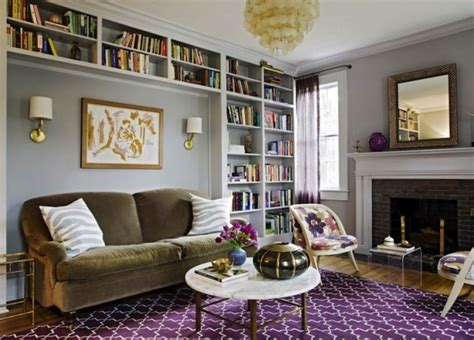 aubergine living room beautiful purple gray living room with gray walls built ins madeline weinrib atelier aubergine