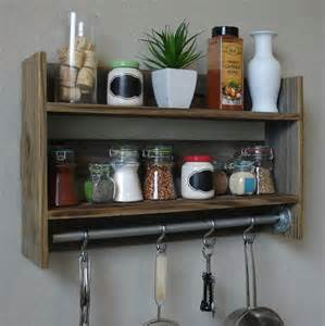 industrial rustic kitchen spice rack wall shelf with 18