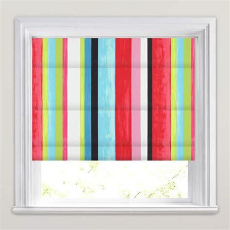 colourful roller blind bathroom funky contemporary vibrant multi coloured striped roman