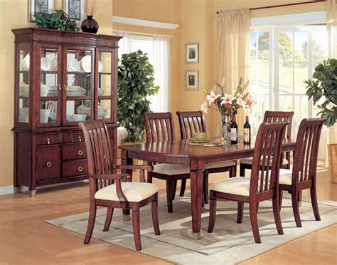 distressed cherry formal dining room set w microfiber seats distressed cherry finish dining furniture w carved details
