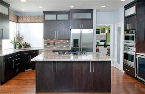 modern kitchen dark cabinets modern kitchen with dark oak cabinetry and a compact sink